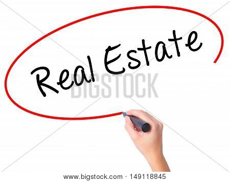Women Hand Writing Real Estate  With Black Marker On Visual Screen