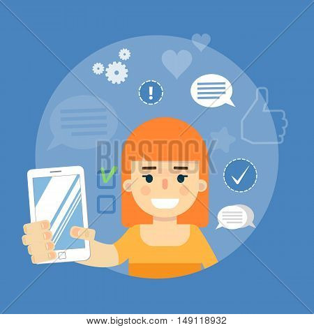 Smiling cartoon girl holding smartphone on blue background with communication icons, vector illustration. Social media concept. Connecting people. Email message. Media sharing, virtual marketing
