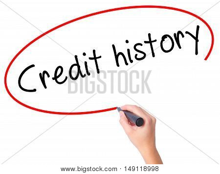 Women Hand Writing Credit History With Black Marker On Visual Screen