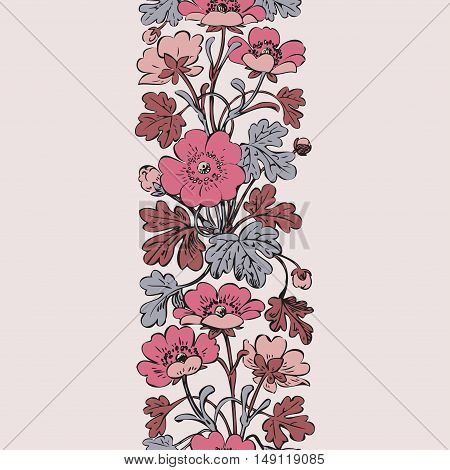 Floral bush retro on white background vector seamless hand drawn decorative flower vintage contour closeup branch with flowers and buds print design