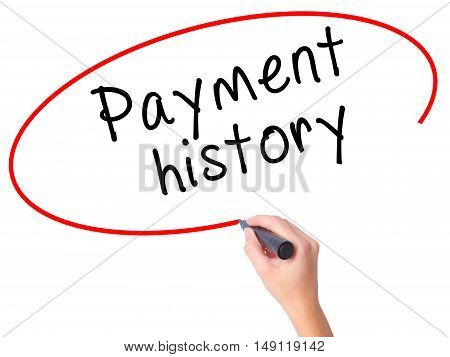 Women Hand Writing Payment History With Black Marker On Visual Screen