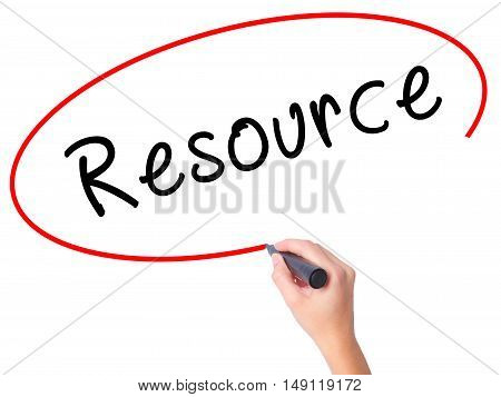 Women Hand Writing Resource With Black Marker On Visual Screen