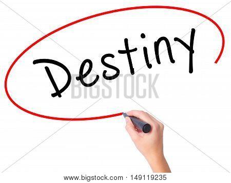Women Hand Writing Destiny Black Marker On Visual Screen