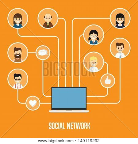 Social networking concept. Social media and social network people connecting. Social media network infographics with people and their social network. Community of social network people vector illustration. Social media people. Social network map.