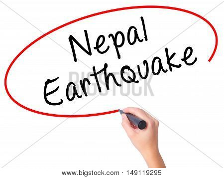 Women Hand Writing Nepal Earthquake With Black Marker On Visual Screen