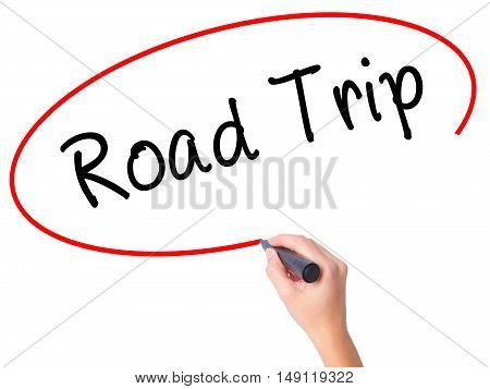 Women Hand Writing Road Trip With Black Marker On Visual Screen