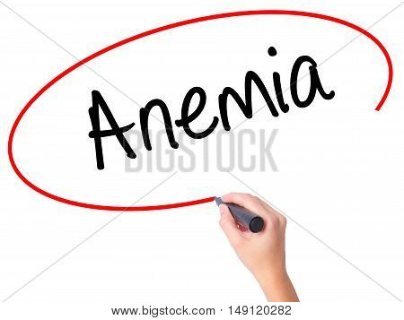 Women Hand Writing Anemia With Black Marker On Visual Screen.