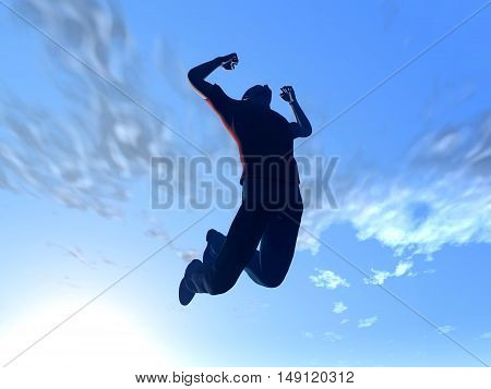 Jumping to the sky. 3D rendered Illustration.