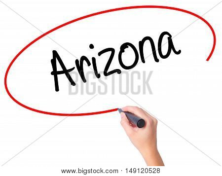 Women Hand Writing  Arizona  With Black Marker On Visual Screen