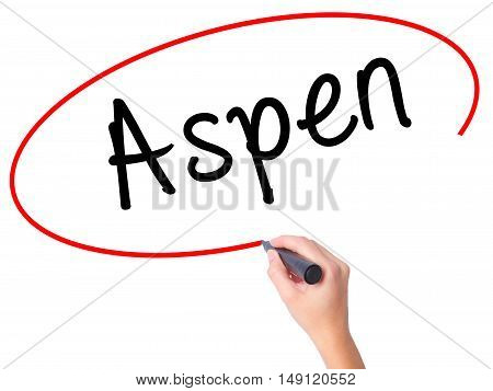 Women Hand Writing Aspen With Black Marker On Visual Screen