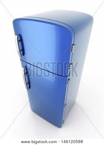 A classic blue Fridge. A 3D rendered Illustration.