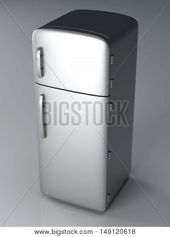 A classic silver Fridge. A 3D rendered Illustration.