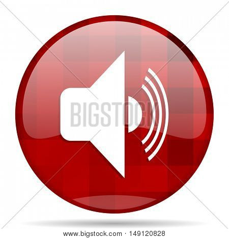volume red round glossy modern design web icon