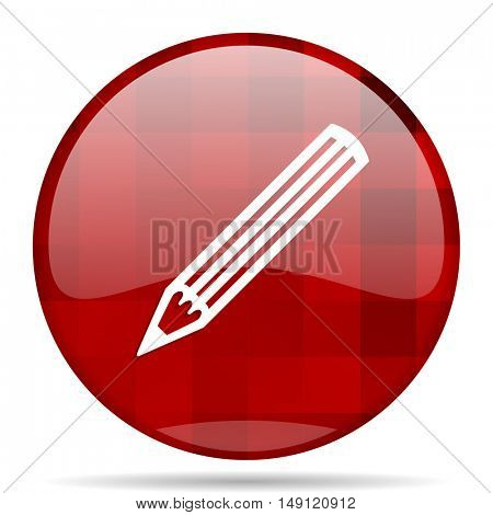 pencil red round glossy modern design web icon