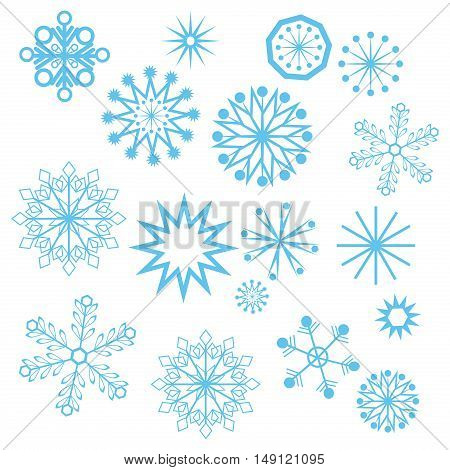 set of vector snowflakes frost blue abstract icon. Decoration vector season christmas snowflakes symbol xmas cold graphic. New year celebration frozen snowflakes crystal snow winter ornament set.