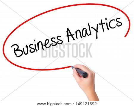 Women Hand Writing Business Analytics With Black Marker On Visual Screen