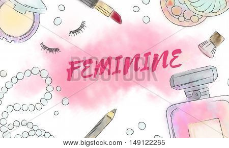 Chic Cosmetics Trendy Fashion Concept