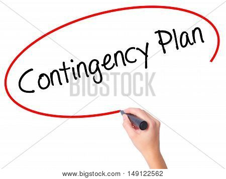 Women Hand Writing Contingency Plan With Black Marker On Visual Screen.