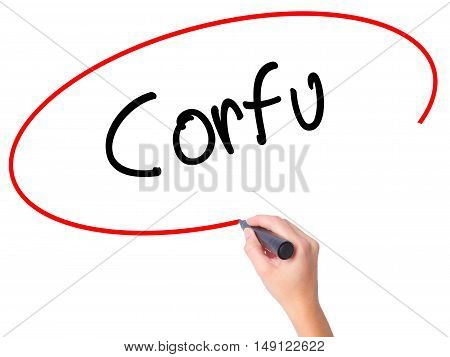 Women Hand Writing Corfu With Black Marker On Visual Screen