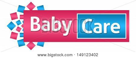 Baby care text written over pink blue background.