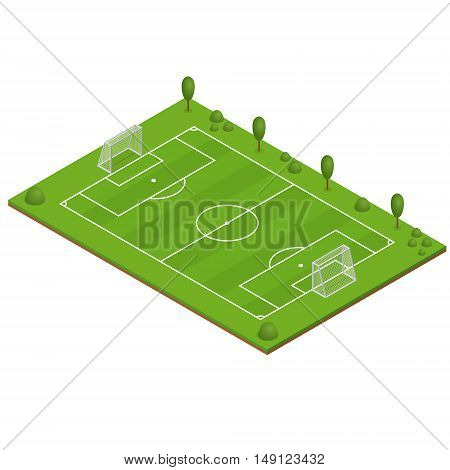 Green Grass Football Field. Isometric View. Vector illustration