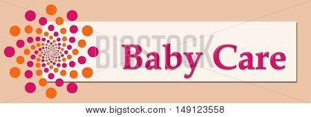 Baby care text written over pink orange background.