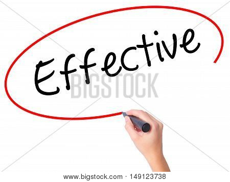 Women Hand Writing Effective With Black Marker On Visual Screen.