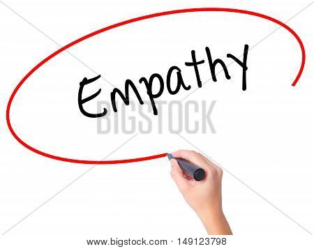 Women Hand Writing Empathy With Black Marker On Visual Screen