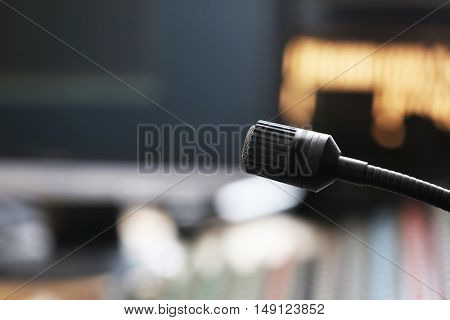 Microphone in recording studio, close up