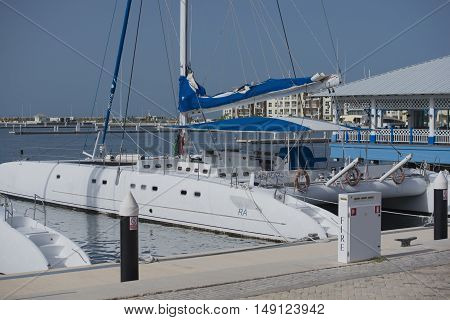 Varadero, Cuba - September 06, 2016: new marina harbor with catamarans on the peninsula Varadero, Cuba