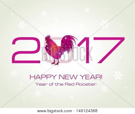 Red Rooster. New Year Greeting Card with Symbol of 2017 on the Chinese Calendar. Fire Cock . Vector.