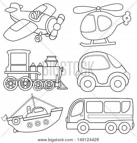 Cartoon transport toys. Coloring book. Vector illustration
