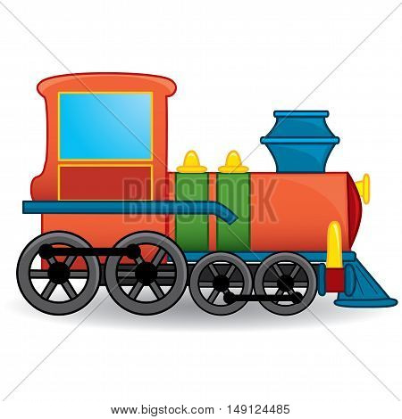 Cartoon train toy. Coloring book. Vector illustration