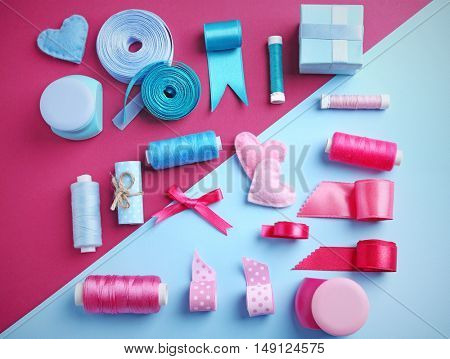 Tailor set of ribbons and threads on color background