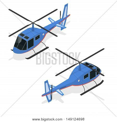 Helicopter Fast Air Passenger Transport Isometric View. Vector illustration