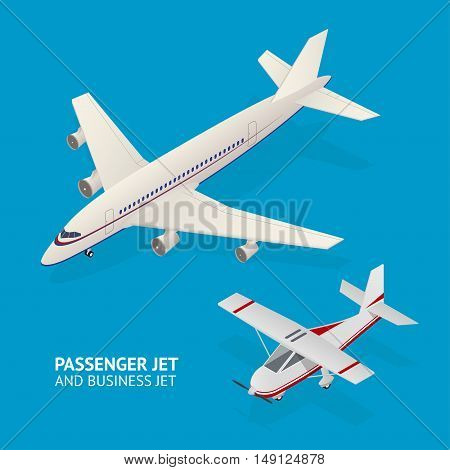 Jet Set. Isometric View. Passenger Transportation Vector illustration