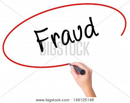 Women Hand Writing Fraud With Black Marker On Visual Screen