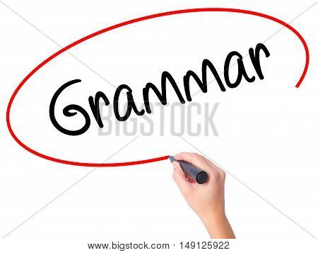 Women Hand Writing Grammar With Black Marker On Visual Screen