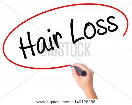 Women Hand Writing Hair Loss With Black Marker On Visual Screen
