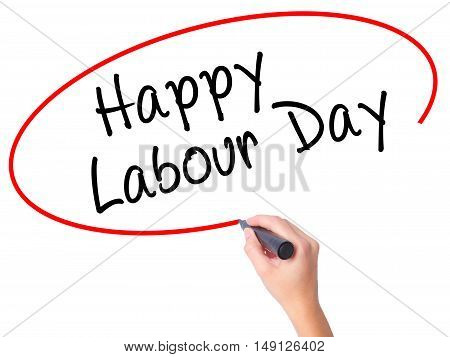 Women Hand Writing Happy Labor Day With Black Marker On Visual Screen