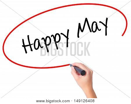 Women Hand Writing Happy May With Black Marker On Visual Screen