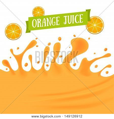 Orange Juice Background with Drops and Blot. Vector illustration