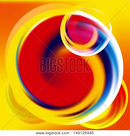 Bright creative flowing round vector dynamic abstract background. Red, yellow, blue, orange