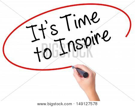 Women Hand Writing It's Time To Inspire With Black Marker On Visual Screen