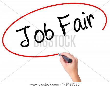 Women Hand Writing Job Fair With Black Marker On Visual Screen