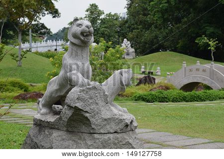 A tiger statue taken at chinese garden in singapore