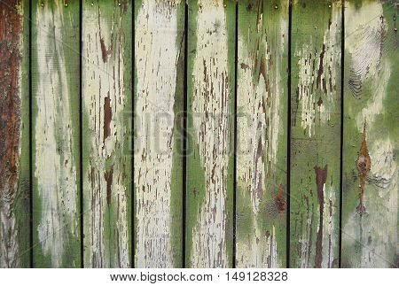 wooden planks, wood background, green paint traces