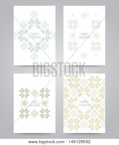 Pixel snowflake and rhombus scandinavian cards set. Can be used as invitation, envelope, greeting card, brochure, flyer.