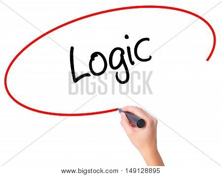 Women Hand Writing Logic With Black Marker On Visual Screen
