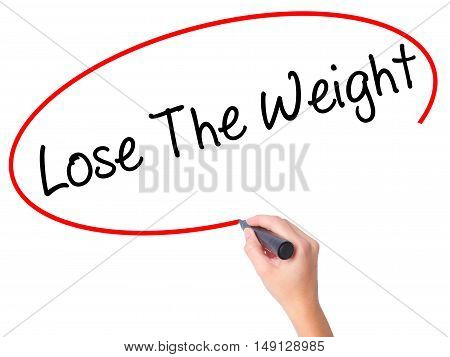 Women Hand Writing Lose The Weight With Black Marker On Visual Screen